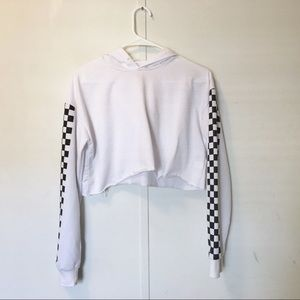 Checkered white cropped hoodie